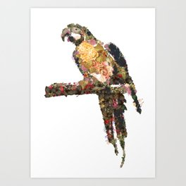 Macaw with flowers isolated on a white background Art Print