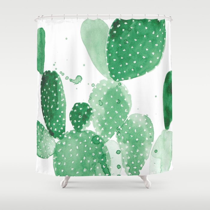 Green Paddle Cactus Shower Curtain