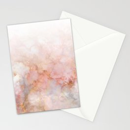 Beautiful Pink and Gold Ombre marble under snow Stationery Cards