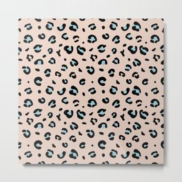 Spotted little leopard minimal animals print panther pattern pale blush pink blue Metal Print
