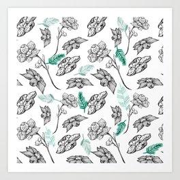 Elegant white green black orchid floral illustration Art Print