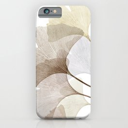 Brown Beige Skeleton Ginkgo Leaf, Modern Minimalist Botanical Photography iPhone Case