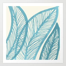 Blue Banana Leaf Art Print