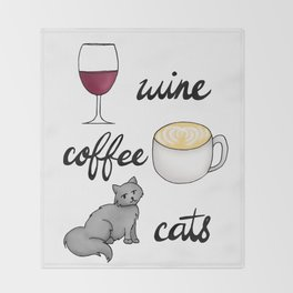 Wine Coffee Cats Throw Blanket