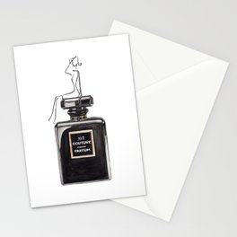 Black parfum with girl Stationery Cards