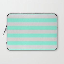 Mint Green & Gray Stripes Laptop Sleeve