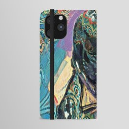 A Woman with a book mixed media art with patterns iPhone Wallet Case