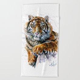 Tiger watercolor Beach Towel