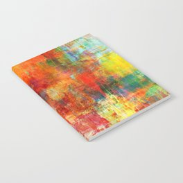 AUTUMN HARVEST - Fall Colorful Abstract Textural Painting Warm Red Orange Yellow Green Thanksgiving Notebook