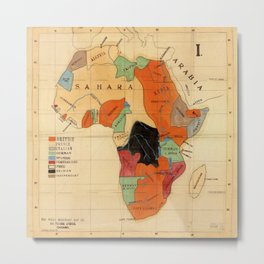 1908 Colonization Map of African Continent Color Coded by Occupying Country  Metal Print
