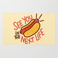 hot dog Area & Throw Rugs featuring Eternal Hot Dog by Josh LaFayette