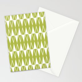 Mid Century Modern Diamond Pattern Chartreuse 234 Stationery Cards
