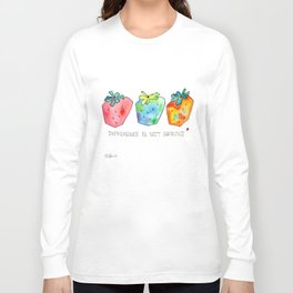 Difference Is Not Wrong watercolor painting strawberry illustration fruits nursery kitchen Long Sleeve T-shirt