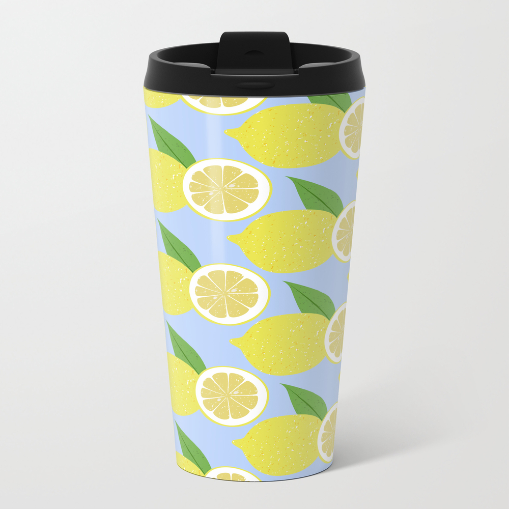 Lemon Fruits On Blue Metal Travel Mug by Engineergoescreative MTM8739595