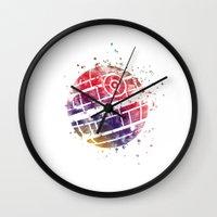 death star Wall Clocks featuring Star . Wars Death Star by Carma Zoe