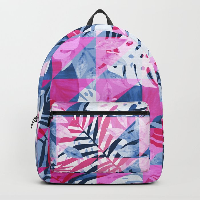 Abstract Hot Pink Geometric Tropical Design Backpack