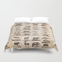 animals Duvet Covers featuring Animals by Le petit Archiviste