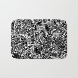 Madrid city map black&white Bath Mat