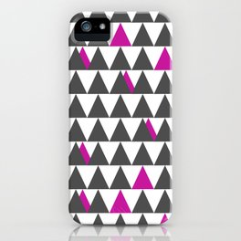 Gray and Pink Triangles iPhone Case