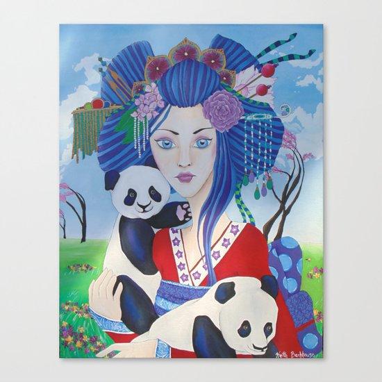 Geisha with Pandas Canvas Print