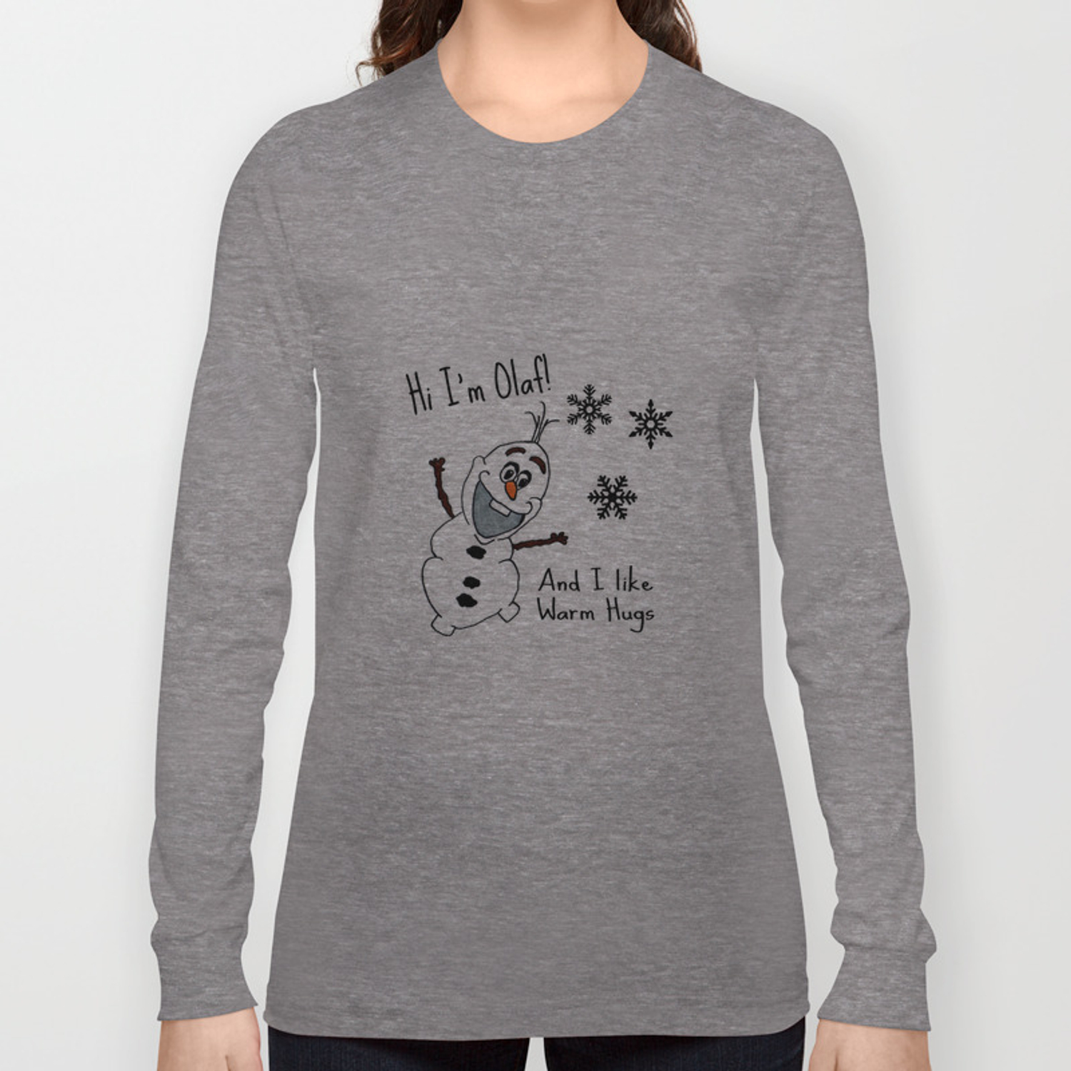 513f9b74 Olaf, I love warm hugs. Frozen Long Sleeve T-shirt by maisyw | Society6