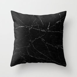 Black Marble Print Throw Pillow
