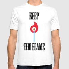 Keep the Flame SMALL White Mens Fitted Tee
