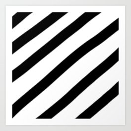 Soft Diagonal Black and White Stripes Art Print
