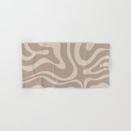 Liquid Swirl Retro Abstract Pattern in Creamy Cocoa Hand & Bath Towel