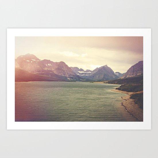 Retro Mountain Lake Art Print