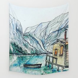 Cabin on the Lake Wall Tapestry