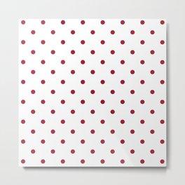 Crimson Red Small Polka Dots Metal Print