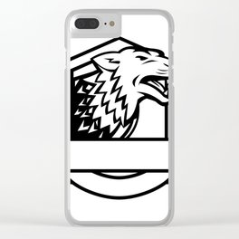 Wolf Growling Crest Retro Clear iPhone Case