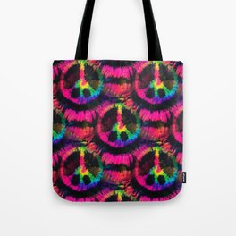 Hot Pink Peace Tie Dye Tote Bag