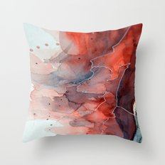 Watercolor red & blue TEXTURE Throw Pillow