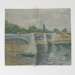 The Bridge at Courbevoie Throw Blanket
