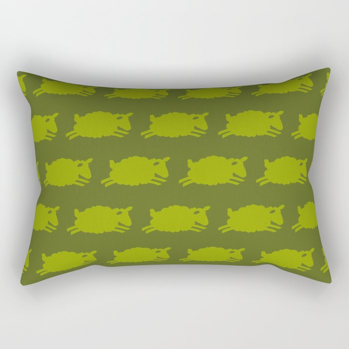 Counting Sheep. Green on Olive. Rectangular Pillow