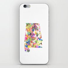 Typographic Alabama - Multi color Watercolor map art iPhone Skin