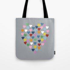 Hearts Heart Multi Grey Tote Bag