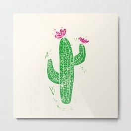 Linocut Cactus #2 Metal Print