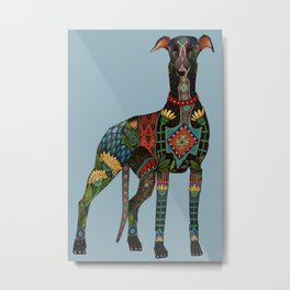 greyhound azure blue Metal Print