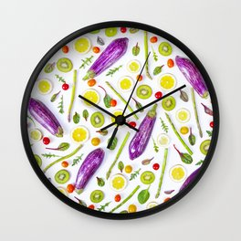 Fruits and vegetables pattern (29) Wall Clock