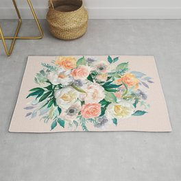 Pastel flower bouquet with roses Rug