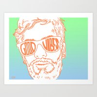 good vibes Art Prints featuring GOOD VIBES by YTRKMR