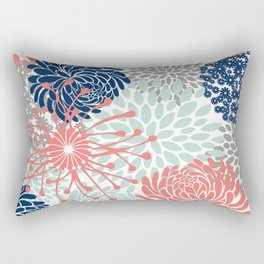 Floral Print - Coral Pink, Pale Aqua Blue, Gray, Navy Rectangular Pillow