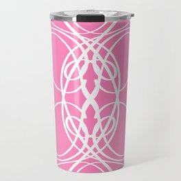 Pink White Swirl Travel Mug