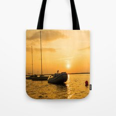 Ships in the evening sun Tote Bag