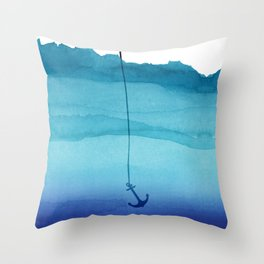 Cute Sinking Anchor in Sea Blue Watercolor Throw Pillow