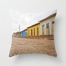 Streets of Trinidad Cuba Cobblestone Stucco Old City Colorful Latin America Caribbean Island Tropica Throw Pillow