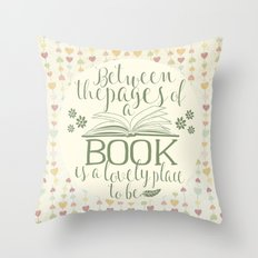 Between the Pages of a Book - Vintage Hearts Throw Pillow